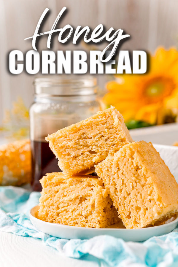 white plate with stack of honey cornbread slices with text reading honey cornbread