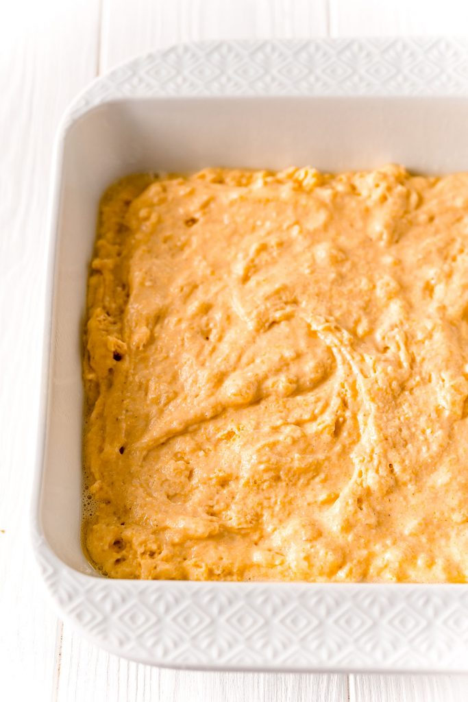 honey cornbread batter in baking dish