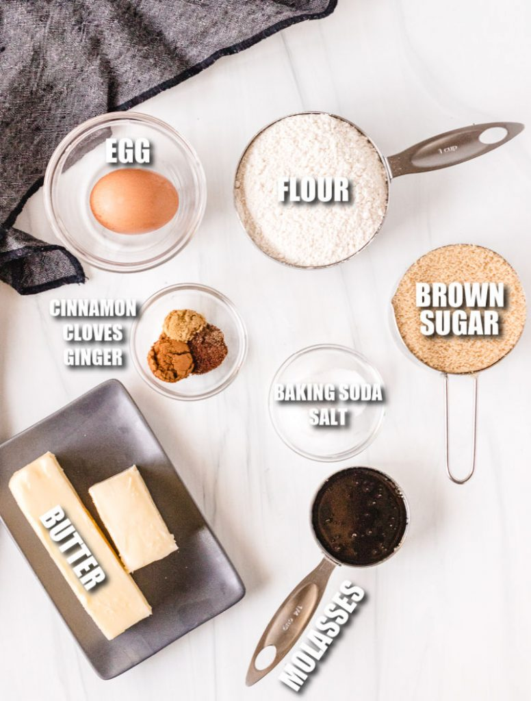 overhead shot of ingredients laid out to make molasses cookies