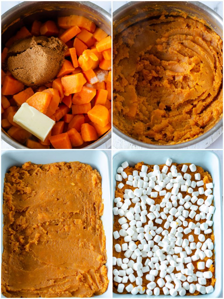 collage of steps making sweet potato casserole