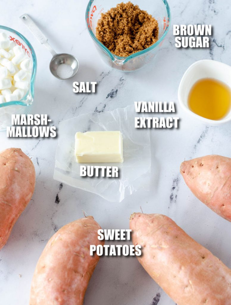 overhead shot of ingredients laid out to make sweet potato casserole