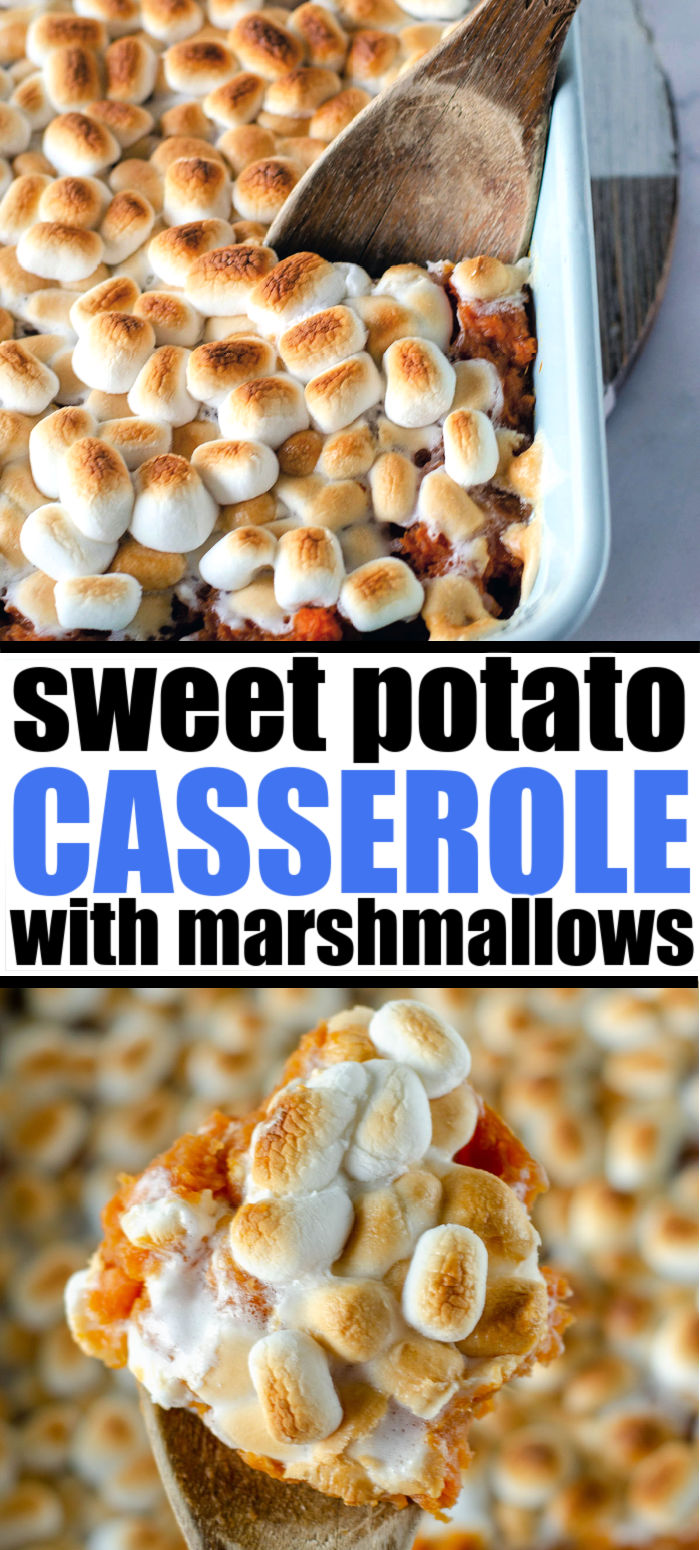 Traditional Sweet Potato Casserole topped with marshmallows is a staple on any holiday dinner table. There are only six ingredients in this easy and classic side dish. | www.persnicketyplates.com #thanksgiving #sidedish #sweetpotatocasserole