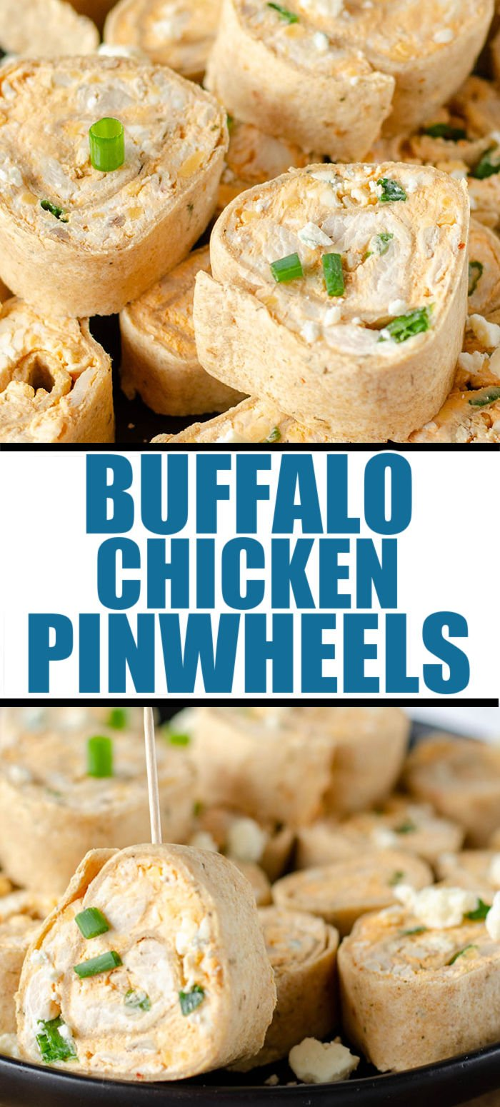 Buffalo Chicken Pinwheels are a quick, crowd pleasing appetizer and a great way to give new life to leftover chicken. With only seven simple ingredients and no cooking involved, you'll make these rollups over & over! | www.persnicketyplates.com