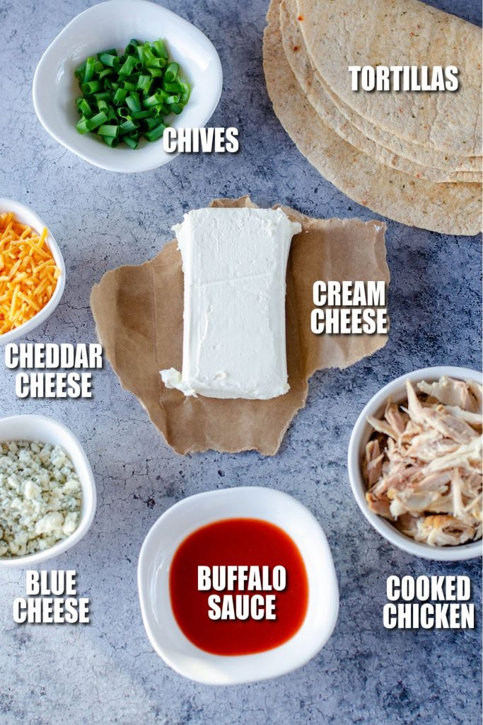 ingredients laid out to make chicken rollups