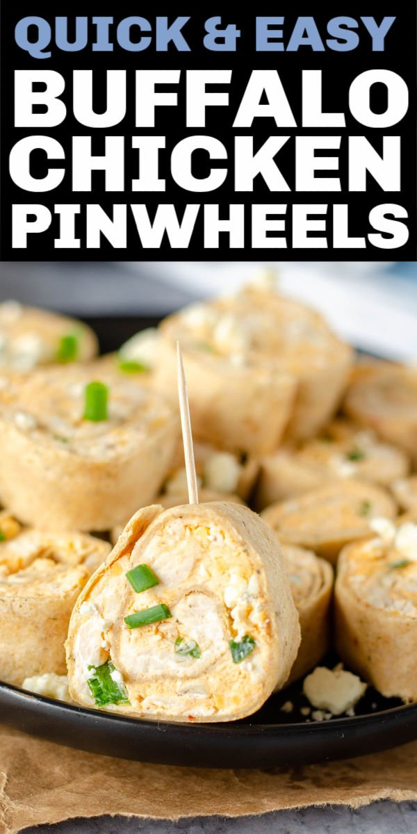 Buffalo Chicken Pinwheels are a quick, crowd pleasing appetizer and a great way to give new life to leftover chicken. With only seven simple ingredients and no cooking involved, you'll make these rollups one over & over! | www.persnicketyplates.com #appetizer #pinwheels #rollups #buffalochicken #partyfood