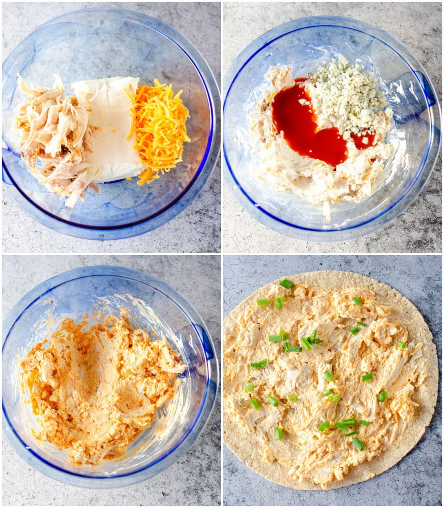 collage of overhead shot of making cream cheese chicken mixture for rollups