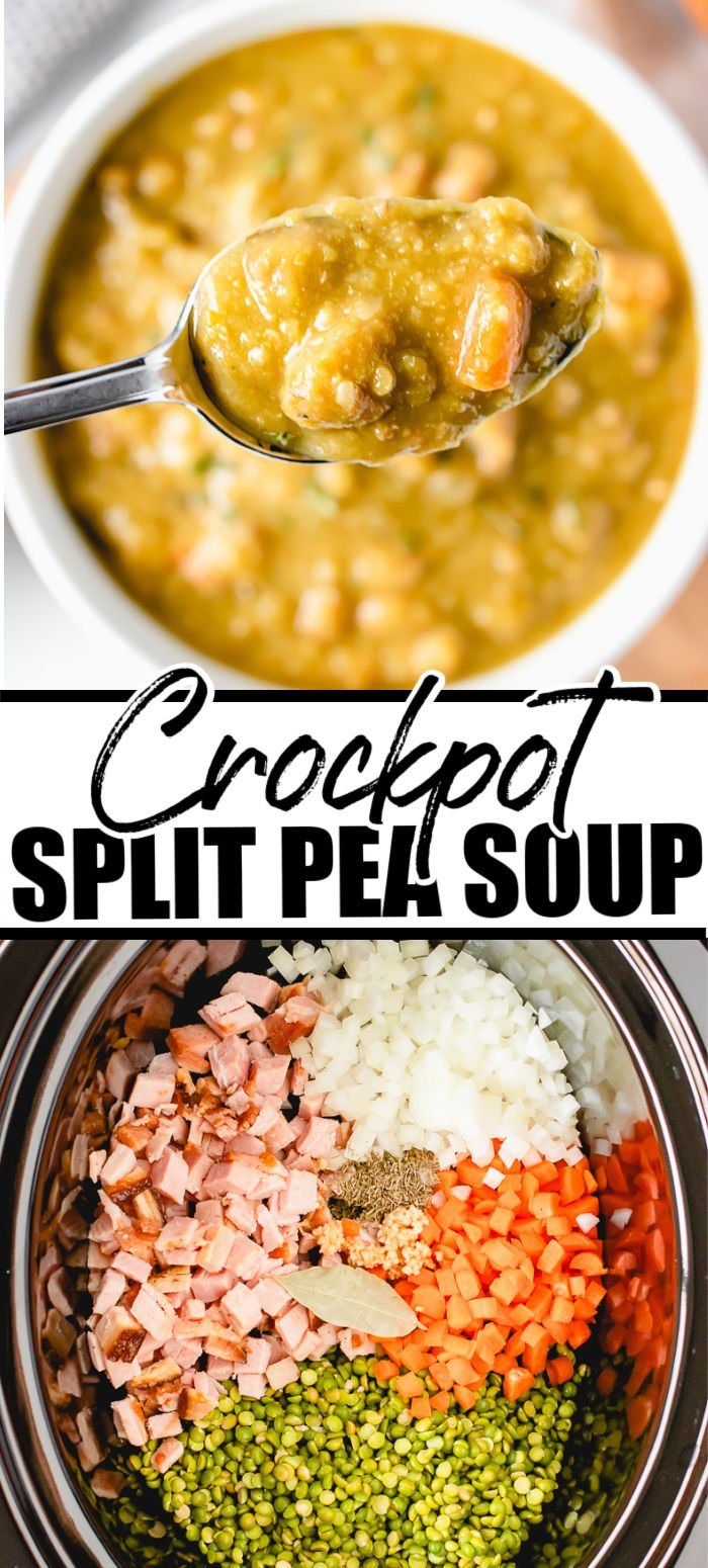 Crockpot Split Pea Soup is hearty and flavorful and a great way to use up leftover ham. Making split pea soup in the slow cooker makes it EASY and so good! | www.persnicketyplates.com