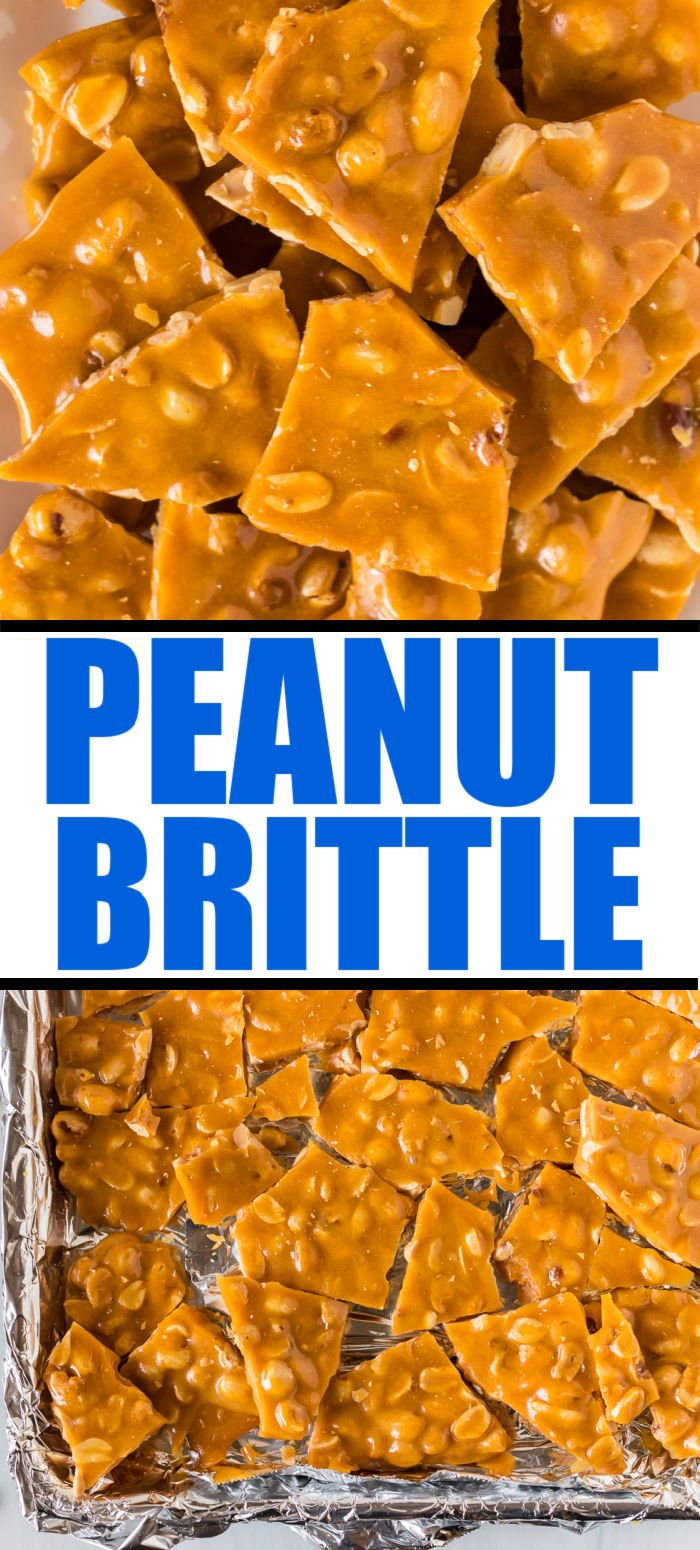 This easy peanut brittle recipe is golden, buttery, and perfect as a treat or to package up for holiday gifts. This homemade candy is salty and sweet and only has six ingredients!  | www.persnicketyplates.com