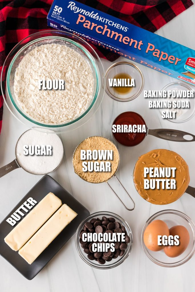 overhead shot of ingredients laid out to make cookies