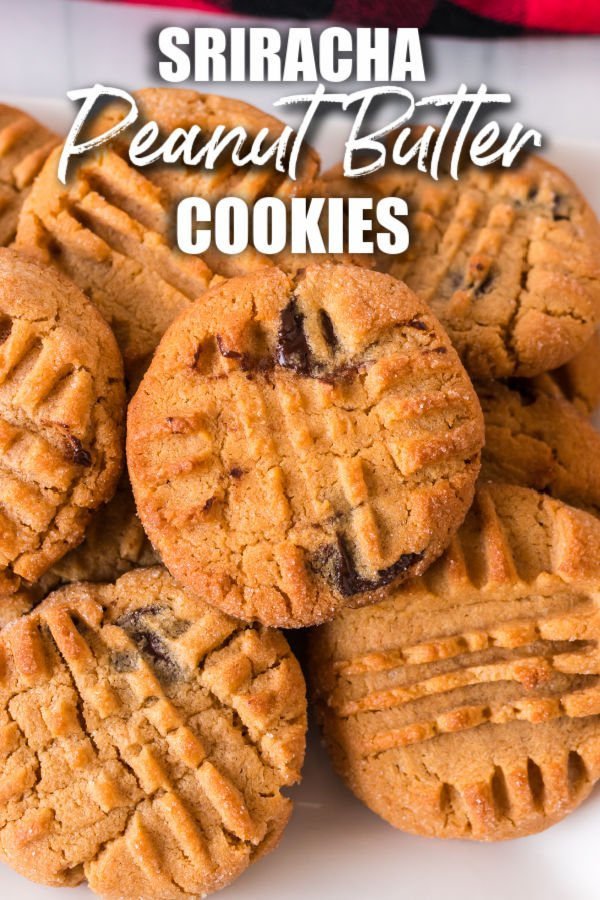 """plate of peanut butter cookies with text overlay reading """"sriracha peanut butter cookies"""""""