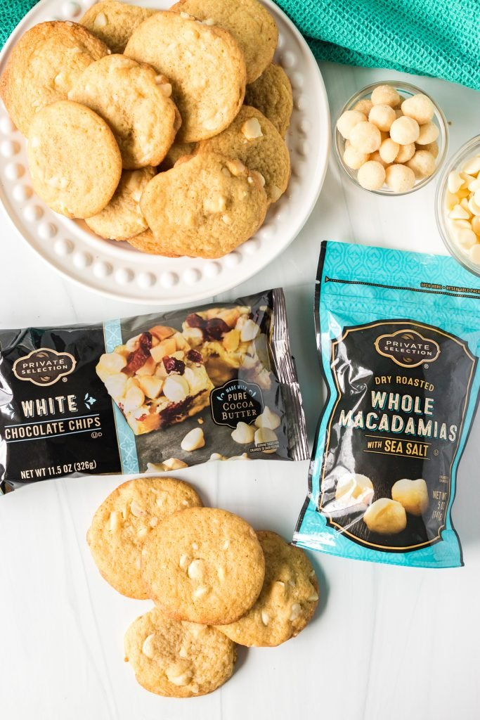 white chocolate macadamia nut cookies with bagged chips & nuts