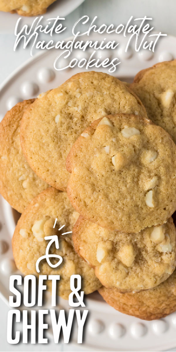These White Chocolate Macadamia Nut Cookies are the perfect blend of salty and sweet with the white chocolate chips and salted macadamia nuts. Crisp edges with a soft and chewy center makes these the best cookies! | www.persnicketyplates.com