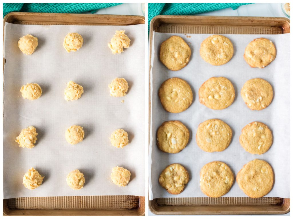 collage of cookie dough & fresh baked cookies on a cookie sheet