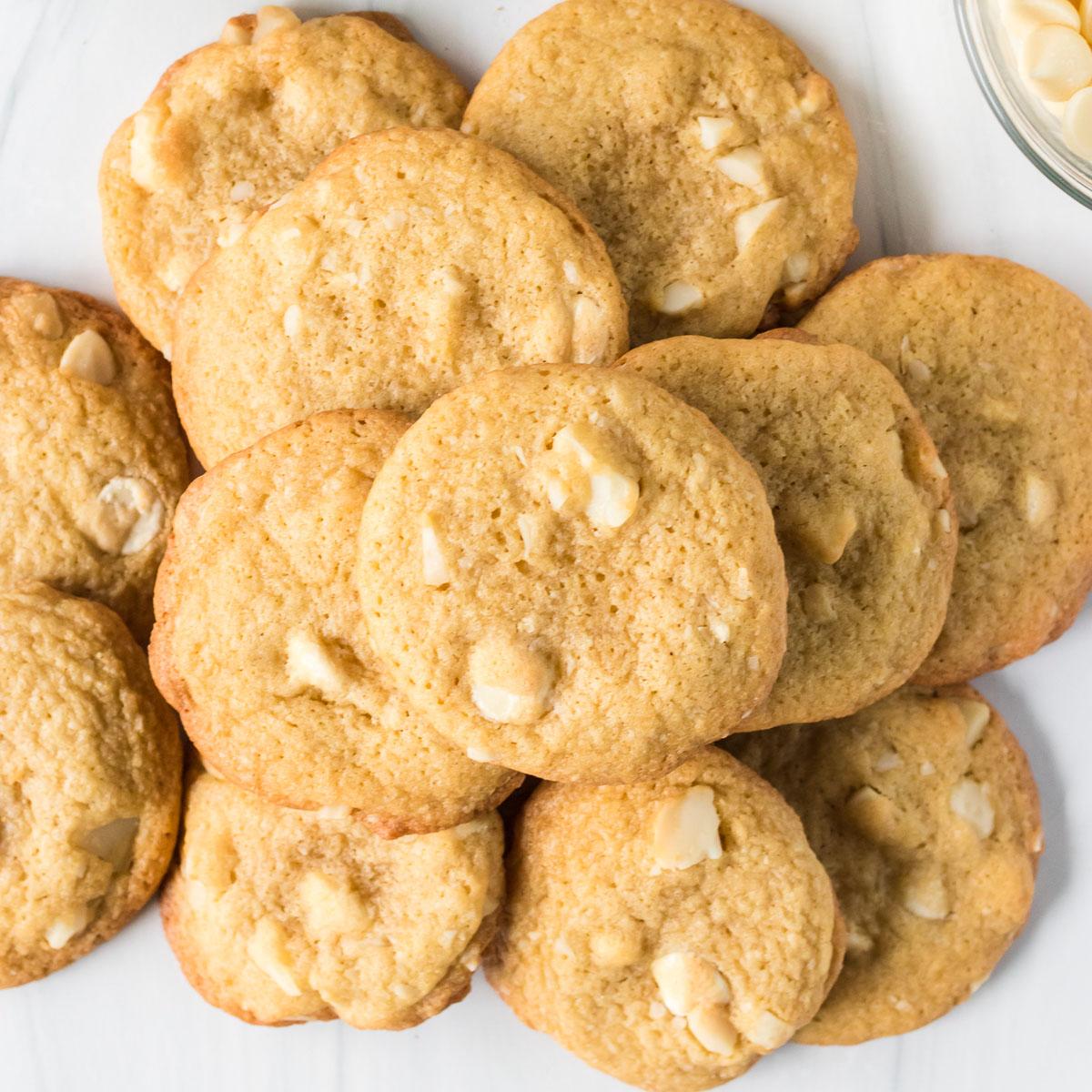 platter of white chocolate macadamia nut cookies