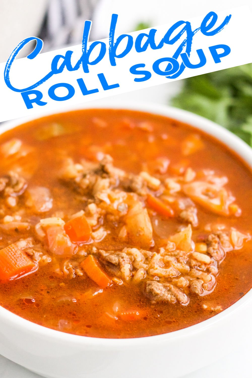 Easy Cabbage Roll Soup takes all the flavors you love from stuffed cabbage rolls but turns it into soup form! Full of flavor, filling, and simple, this unstuffed cabbage roll soup is sure to be a family favorite. | www.persnicketyplates.com #soup #cabbageroll #comfortfood #easyrecipe