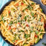 closeup of spicy chicken chipotle pasta in a skillet