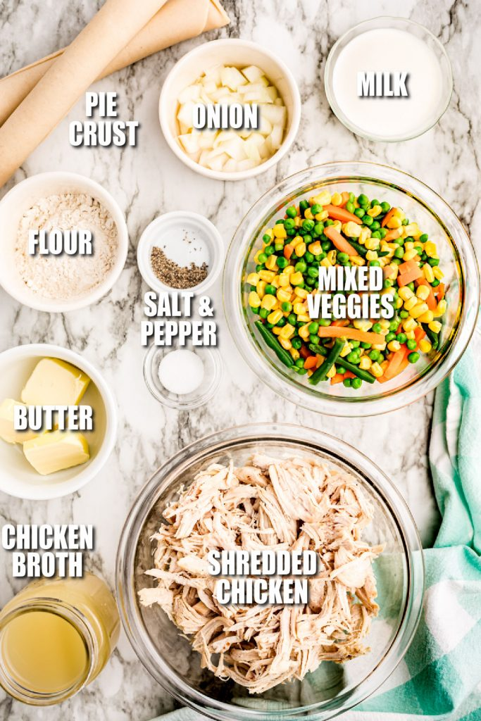 overhead shot of ingredients laid out to make chicken pot pie
