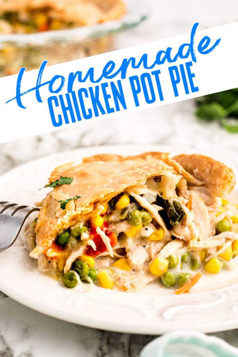 Chicken Pot Pie is my idea of comfort food! Tender chicken, vegetables, and gravy, baked into a flaky pastry crust. This homemade, easy chicken pot pie recipe is a great way to use up leftover chicken, too! | www.persnicketyplates.com