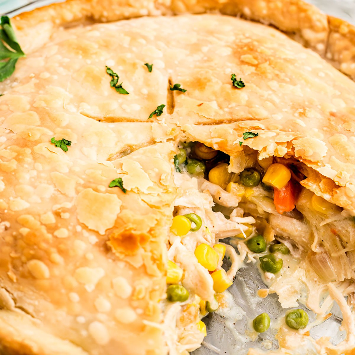 closeup of chicken pot pie with a slice missing