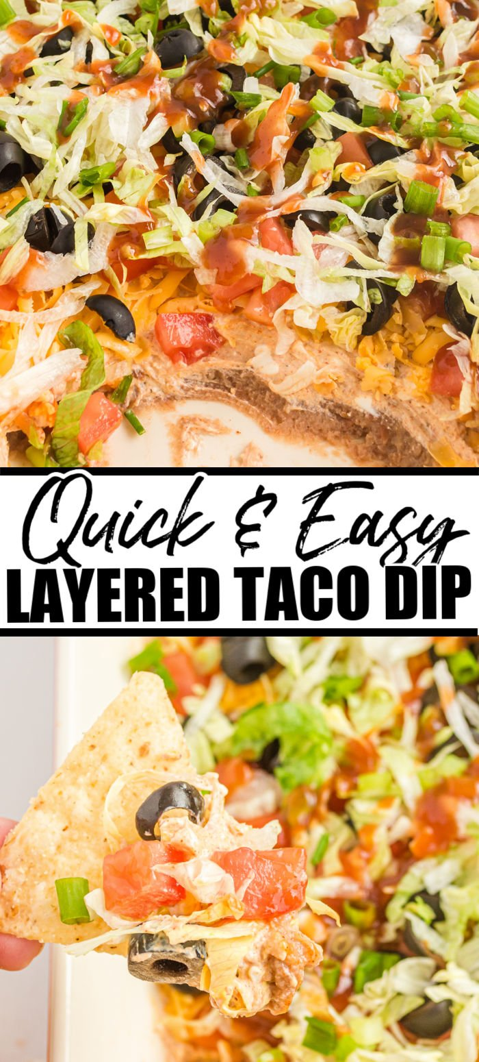 EASY taco dip recipe perfect for game day! Prep only takes minutes and it's a real crowd-pleasing comfort recipe.   www.persnicketyplates.com