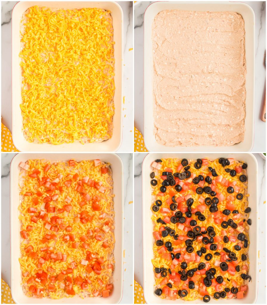 collage showing layers of taco dip being built