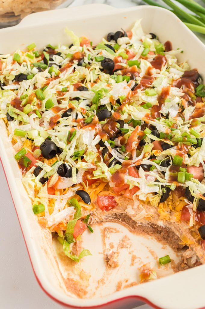 pan of this easy taco dip recipe