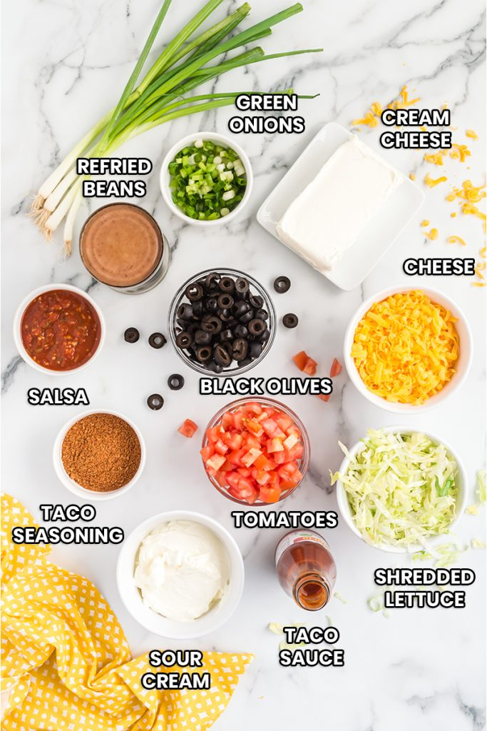 ingredients needed for this easy taco dip recipe