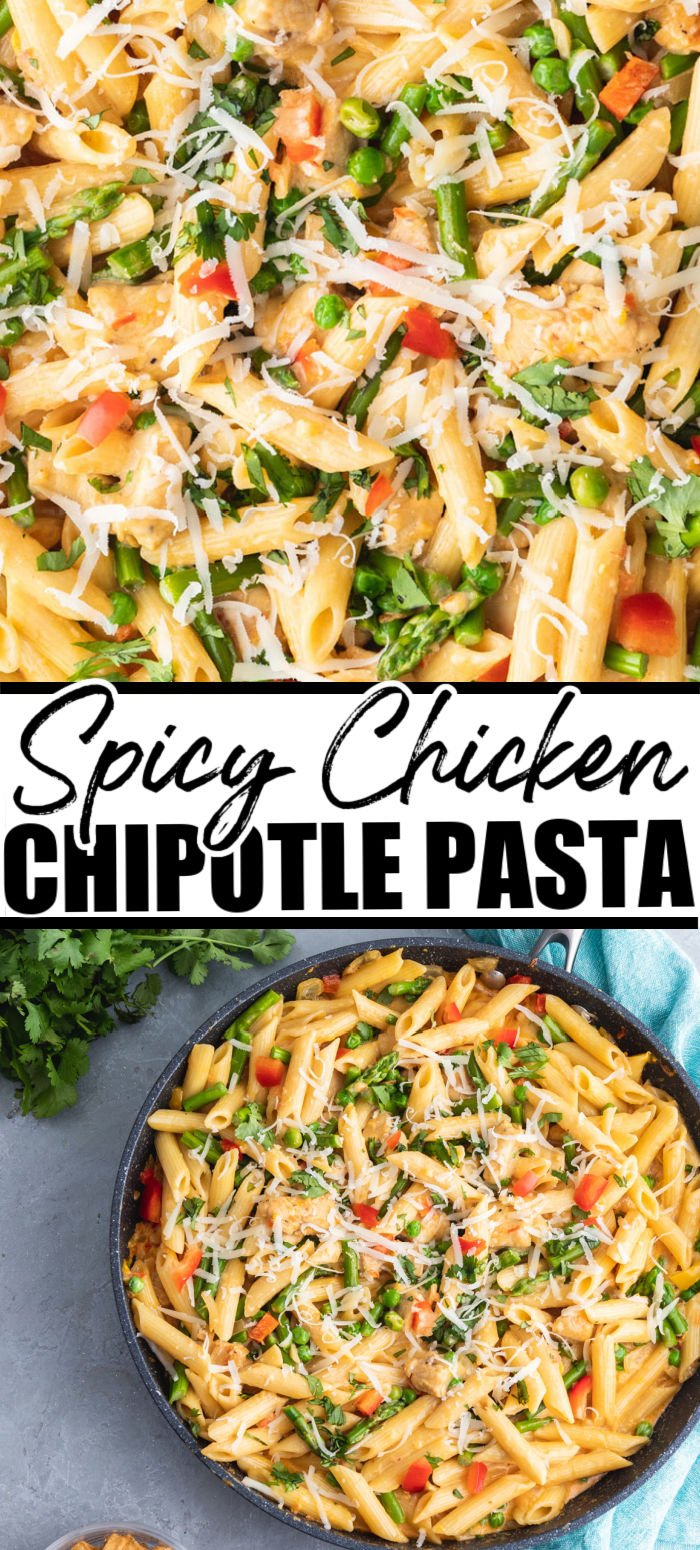 Spicy Chicken Chipotle Pasta is a Cheesecake Factory copycat recipe. This flavorful pasta dish is full of honey glazed chicken, asparagus, peppers, peas, garlic and onion in a spicy chipotle parmesan cream sauce. No need for going out when you can make this at home! | www.persnicketyplates.com