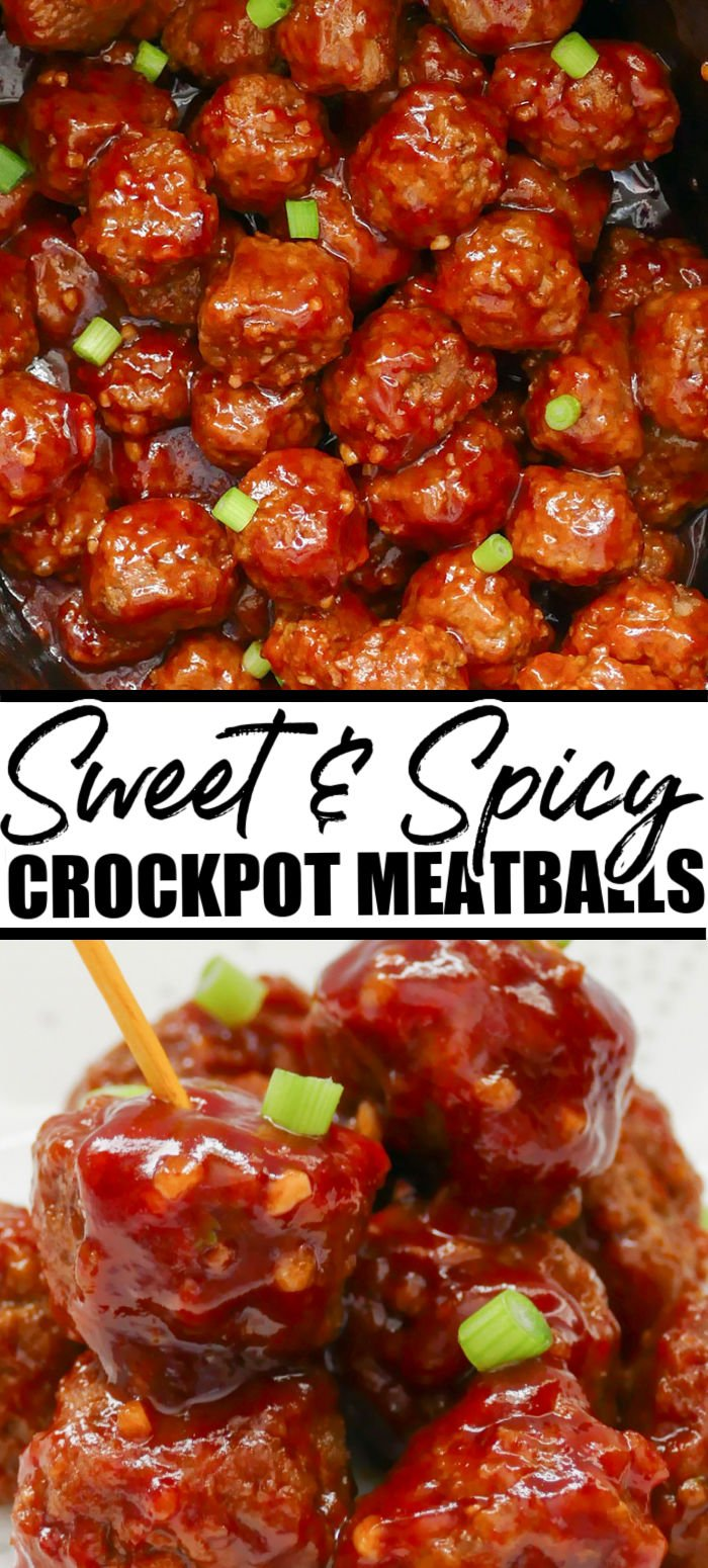 Sweet and spicy slow cooker meatballs are perfect for gameday! Easy to put together and make for a crowd-pleasing appetizer. | www.persnicketyplates.com
