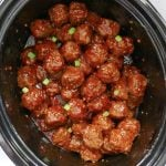 overhead shot of meatballs in a slow cooker