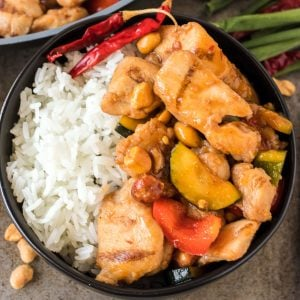 overhead shot of kung pow chicken with white rice
