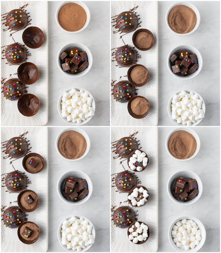 collage of filling a hot cocoa bomb with cocoa mix, brownie bite, mini marshmallows