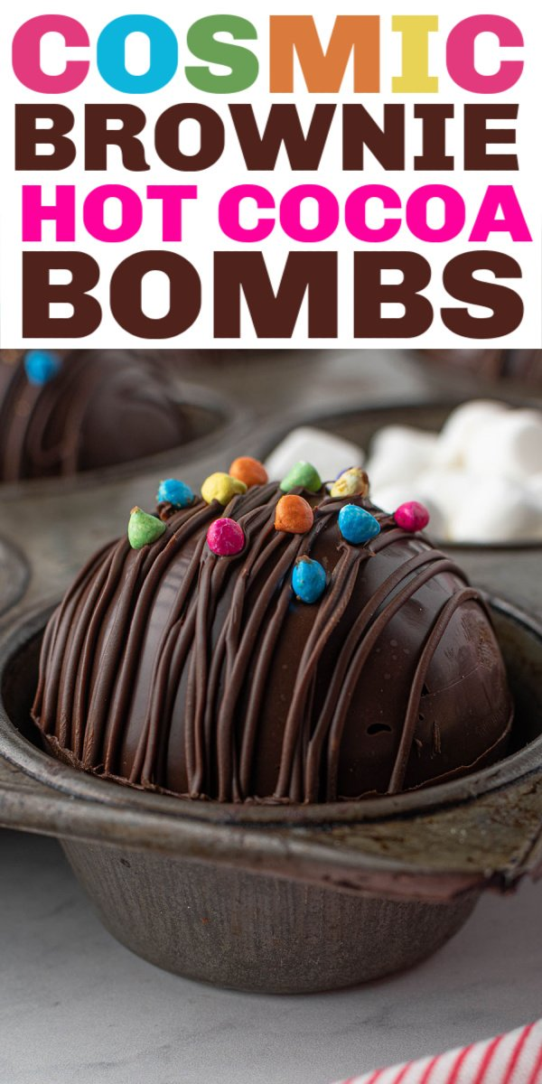 Have you had a Hot Chocolate Bomb yet? Have you had a hot chocolate bomb with a COSMIC BROWNIE inside of it? These treats are easy to make, impressive, and fun! | www.persnicketyplates.com