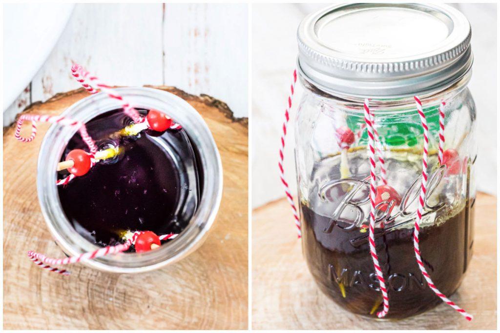 skewers dangling in mason jars to make rock candy