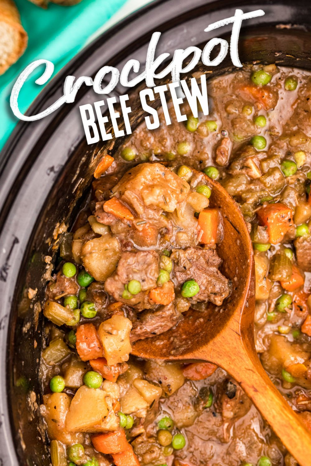 Easy slow cooker beef stew is thick and hearty and the definition of comfort food. Made in the crockpot, this stew is filled with tender beef, carrots, and peas and is a family favorite. | www.persnicketyplates.com