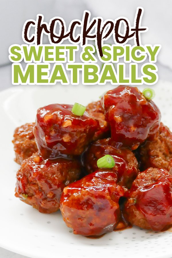 Sweet & spicy slow cooker meatballs are perfect for gameday! Easy to put together and make for a crowd-pleasing appetizer.