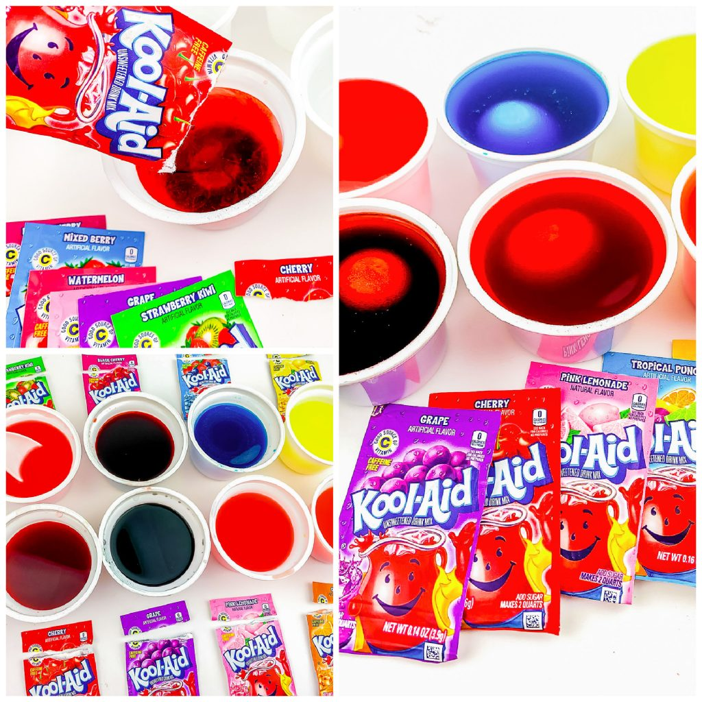 collage of pouring kool-aid into cups to dye eggs