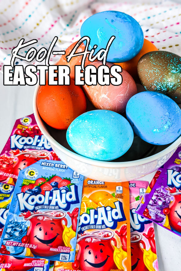 "bowl of colorful hard boiled eggs with text overlay reading ""kool-aid easter eggs"""