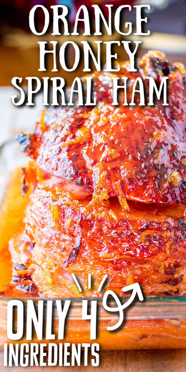 Orange Honey Spiral Ham is juicy, sweet, and perfect for a holiday dinner table. With only four ingredients, this glazed baked ham is a winner! | www.persnicketyplates.com