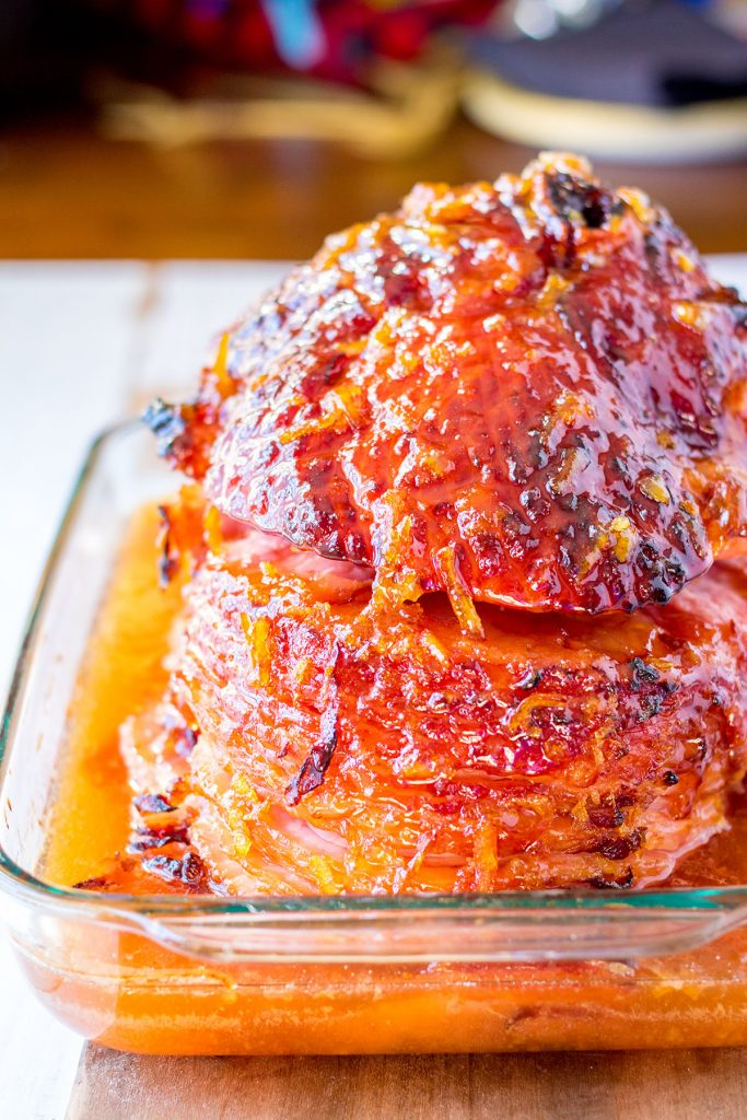 glazed baked ham in a casserole dish