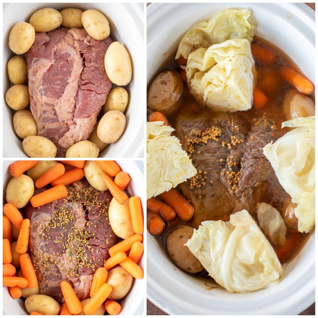 overhead shot of collage of making beef brisket with vegetables in slow cooker