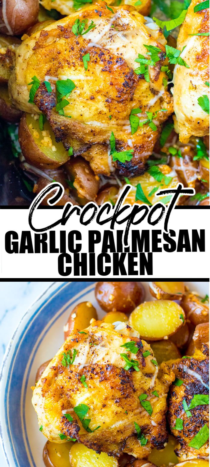 Slow Cooker Garlic Parmesan Chicken is a super easy, super comforting, super flavorful dinner! Because it's made in the crockpot, there is very little hands-on time. Let the slow cooker do the work and cook your meat and potatoes at the same time. | www.persnicketyplates.com