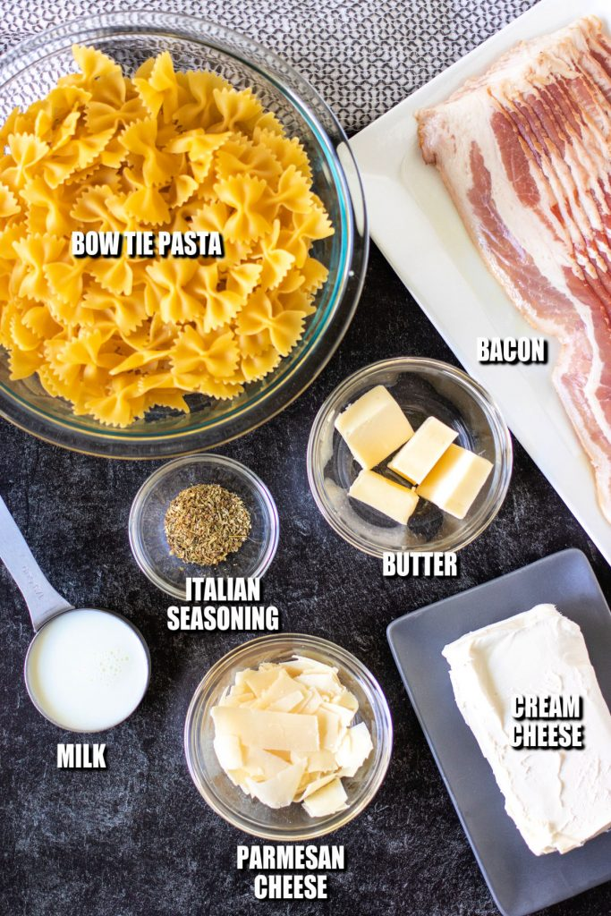 overhead shot of ingredients laid out to make bow tie pasta