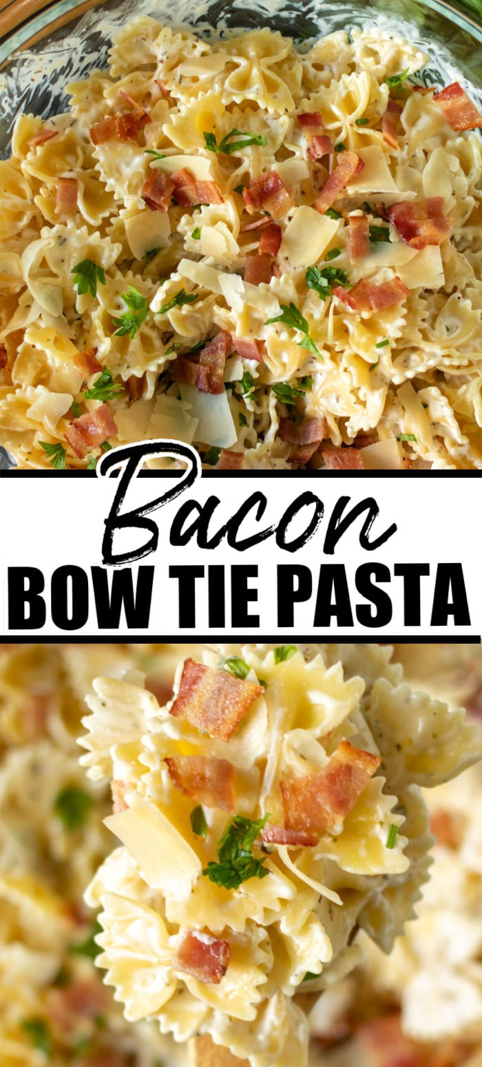 Creamy Bow Tie Pasta with bacon is simple comfort food that is easy to customize with grilled chicken, veggies, or delicious as is. With only seven ingredients and 30 minutes, you can have a family favorite on the table. | www.persnicketyplates.com