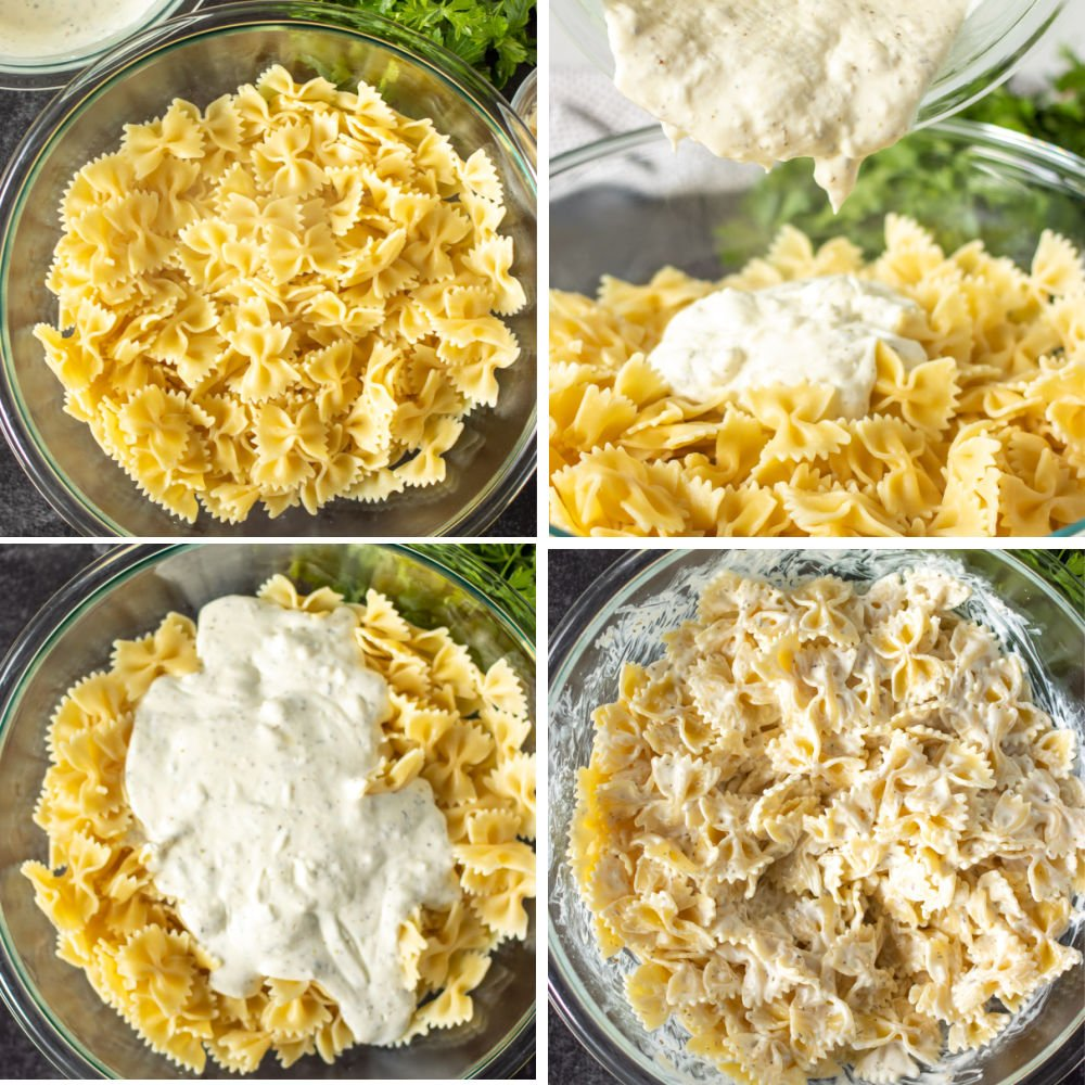 collage of bowl of pasta making a cream sauce