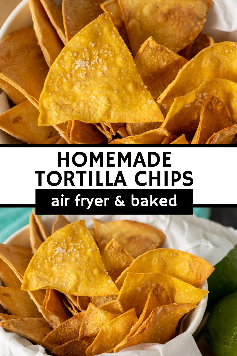 Making homemade tortilla chips is probably easier than you think. You only need THREE ingredients and can easily make them in the oven or the air fryer. Perfect for dipping in salsa or guac, topping soups, or just as a snack!  | www.persnicketyplates.com