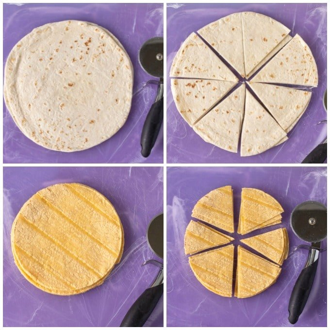 collage of tortillas being sliced with a pizza cutter