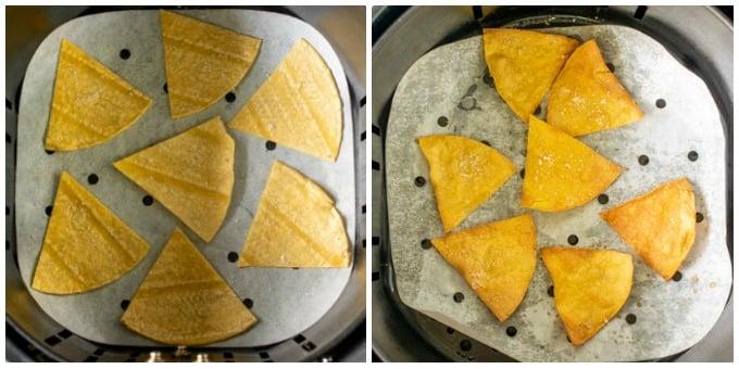 overhead shot of tortillas in an air fryer basket