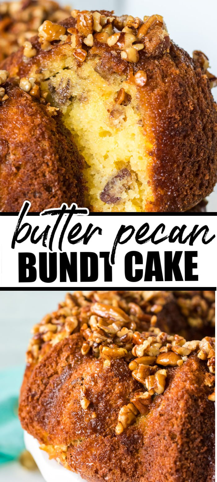 Butter Pecan Bundt Cake starts with a yellow cake mix, is filled with chopped pecans, and is topped with a buttery, sweet glaze full of toasted pecans. Perfect for any occasion and highly addictive! | www.persnicketyplates.com