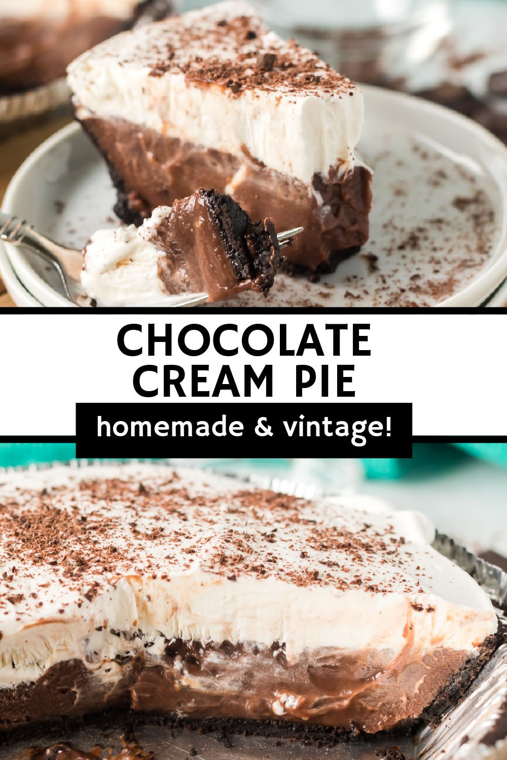 Easy Chocolate Cream Pie is a delicious, chocolatey vintage dessert sure to please the whole family! Homemade chocolate pudding topped with homemade whipped cream in an Oreo pie crust makes a cold, creamy dessert that is perfect for chocolate lovers. | www.persnicketyplates.com